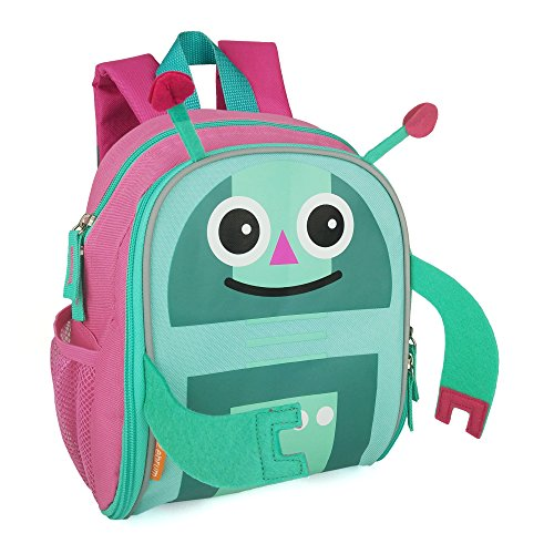 Zebrum Toddler Backpack, Kids Bag with Reflective Stripe and Mesh Side Pockets for Boys and Girls, Cute Monster (Pink (Monster High Girls Names)