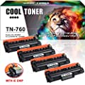 Cool Toner (with Chip) Compatible for Brother TN760 TN730 HL-L2395DW HL-L2350DW Toner Cartridge for Brother MFC-L2710DW MFC-l2750dw DCP L2550DW HL L2390DW HLL2395DW MFCL2710DW Toner Ink Printer -4PK