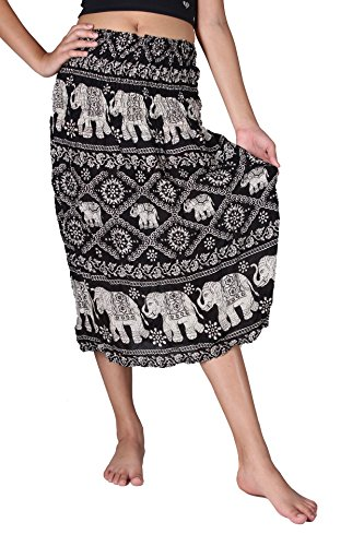 Bangkokpants Hippie Bohemian Midi Skirts Elephant Lover Black US 0-12