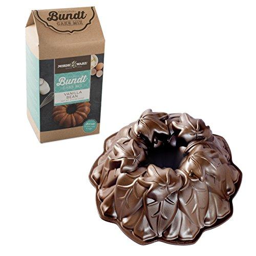 Nordic Ware Harvest Leaves Cast Aluminum Bundt Pan with Vanilla Bean Cake Mix