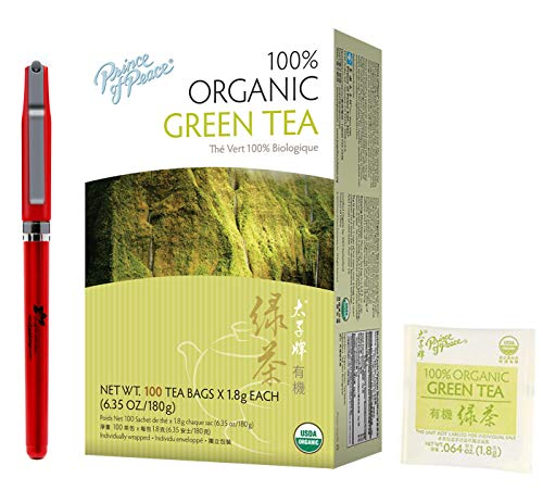 (Prince Of Peace Organic Green Tea-100 Tea Bags net wt. 6.35oz with Free Inspiration Industry Logo Pen (1-Pack))