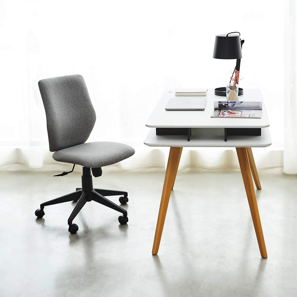 Light Grey Bowthy Armless Office Chair Ergonomic Computer Task Desk Chair Without Arms Mid Back Fabric Swivel Chair