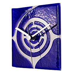 River City Clocks Square Blue Glass Wall Clock with White Swirl Design