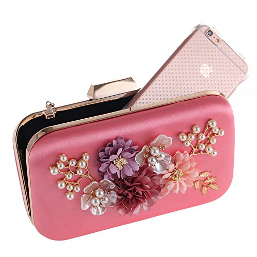 Evening Clutches Bag Pearl Beaded Bags Purses Wedding Evening Flower Floral Pink Handbag Deep wIABqzI