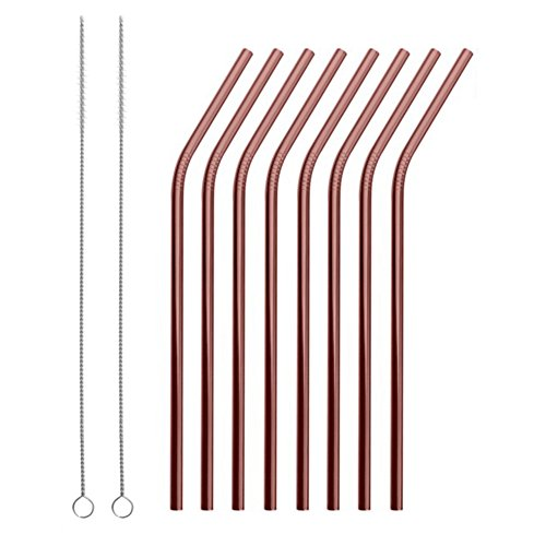 Reusable Stainless Steel Straws Set of 8 Rose Gold Metal Bent Drinking Straws with Cleaning Brush for Cups Mugs Tumblers Ramblers