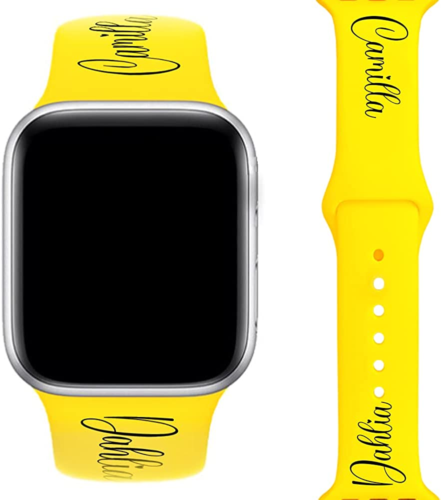 AIPNIS Custom Name Strap Compatible with Apple Watch 38sm 40mm 42mm 44mm,Personalized Gifts Soft Silicone Sport Replacement Bands Suitable for iWatch Series 6 5 4 3 2 1 - Design your Name