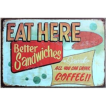Eat here tin sign retro vintage decor metal for Bar decor amazon