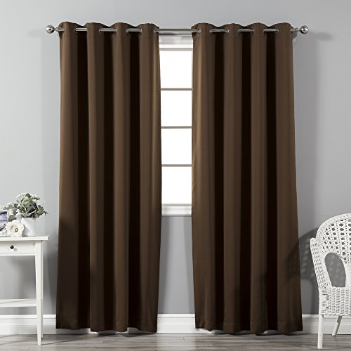 Best Home Fashion Thermal Insulated Blackout Curtains - Antique Bronze Grommet Top - Chocolate - 52