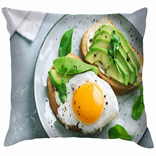 Avocado Sandwich Fried Egg Sliced Food and Drink Cotton Throw Pillow Case Cushion Cover Home Office Decorative, Square 12X12 Inch ()