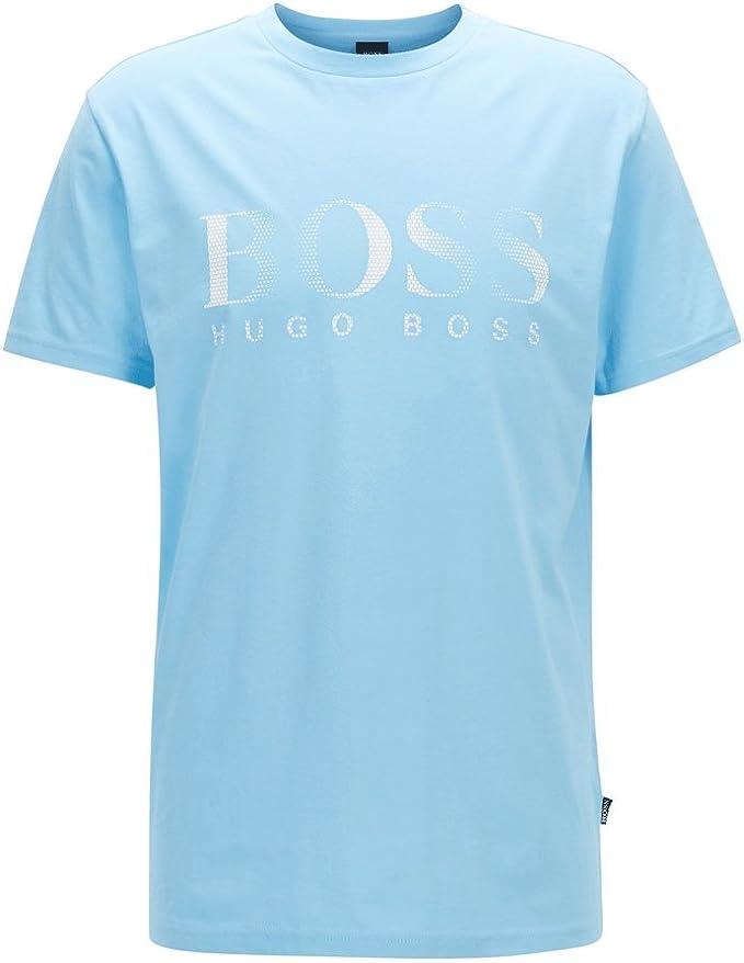 Hugo Boss mens UV Protection logo T-Shirt lt blue 50332287 453