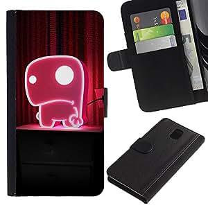 JackGot ( Divertente Cute Pink Mostro ) Samsung Galaxy Note 3 III la tarjeta de Crédito Slots PU Funda de cuero Monedero caso cubierta de piel
