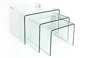 beistelltisch glas 3er set icnib. Black Bedroom Furniture Sets. Home Design Ideas