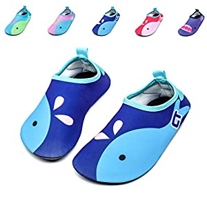 Giotto Kids Non Slip Barefoot Water Shoes Aqua Socks For Swim Beach Pool (Toddler/Little Kid/Big Kid), Blue, 26-27
