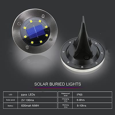 4PCS Solar Powered Ground Lights,IP65 Waterproof Outdoor 2.8 Inch Disk Solar Light with Super Bright 8 LED for Garden Pathway Yard, Driveway, Lawn (White)