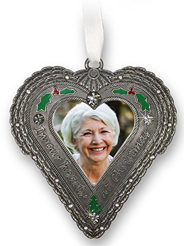 Pewter Angel Photo Frame Ornaments (Memorial Christmas Ornament - In Our Hearts at Christmas - Heart Shaped Picture Ornament with Berries and Holly - Angel Wing Design Around the Photo Opening)