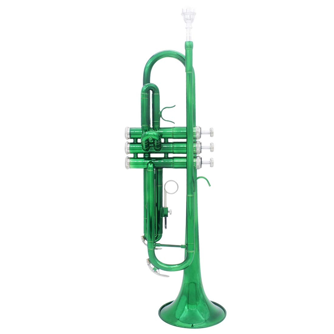 SHMYQQ Bb Trumpet Pro Case Care Kit,Nickel Plated Intermediate Double-Braced Bb Trumpet Standard B Flat Bb Student Trumpet Green