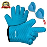 Silicone Grilling Gloves - Best Heat Resistant Oven Mitts For Cooking, Baking, BBQ & Boiling Non-Slip Potholders with Internal Cotton Layer - Includes Mini Oven Mitt (Blue)