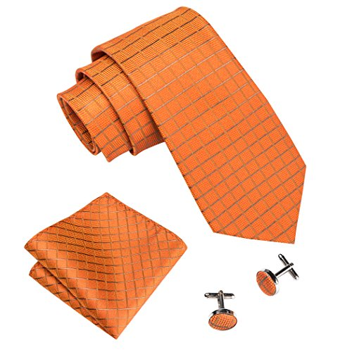 (Barry.Wang Wedding Tie Orange Silk Tie and Pocket Square Set)