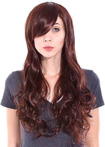 Lady Hillbilly Costume (Simplicity Ladies Long Wavy Curly Reddish Brown Hair Wig for Cosplay)