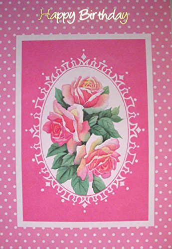 Braille Embossed Birthday Greeting Card - Pink Flowers on a Pink and White Polka-Dotted Card