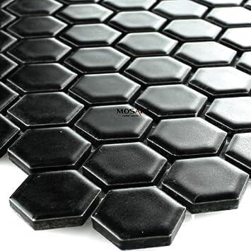 Keramik Mosaik Fliesen Waben Schwarz Matt Amazonde Baumarkt - Mosaik fliesen schwarz matt