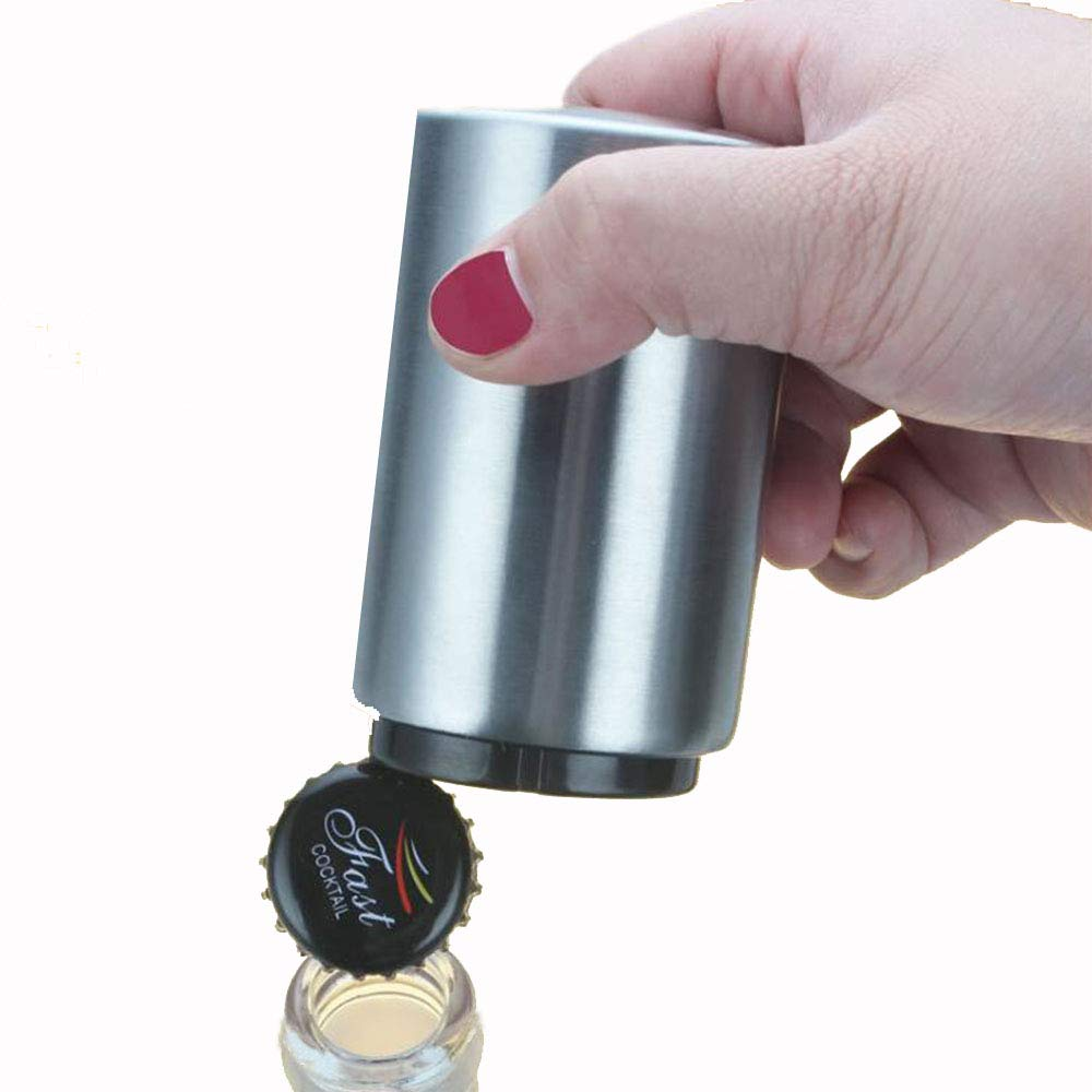 Auto Beer Bottle Opener with Cap Catcher, Magnet Automatic Stainless Steel Bottle Opener to Remove the Bottle Caps of Beer, Carbonated Drinks, Sparkling Water, Soda, No Damage to Caps