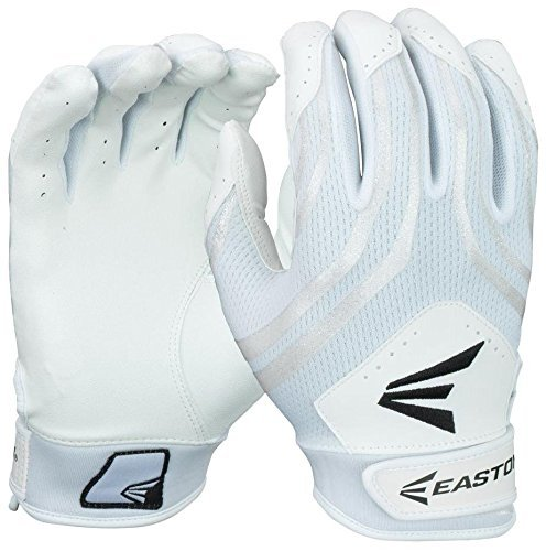 Easton Hyperskin - HF3 Fastpitch Batting Gloves, White/White, - Fastpitch Softball Glove Batting