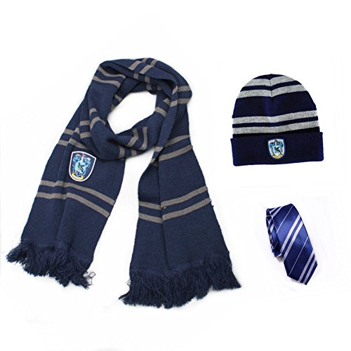 Ravenclaw House Scarf (Harry Potter Ravenclaw House Scarf Costume + Tie + Hat/Cap Cosplay Costume)