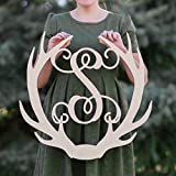 Cheap SALE 12-36 inch tall Wooden ANTLER Monogram Letters Vine Room Decor Nursery Decor Wooden Monogram Wall Art Large Wood monogram wall hanging wood LARGE