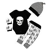 4pcs Newborn Baby Boys Girls Skull Romper+Pants+Hat+Mitten Halloween Outfit Set (6-12 Months, Black+White)