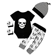 4pcs Newborn Baby Boys Girls Skull Romper+Pants+Hat+Mitten Halloween Outfit Set (0-6 Months, Black+White)