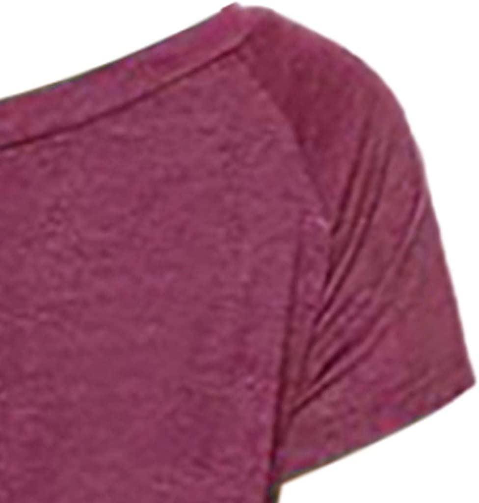 Toimothcn Womens Women Tunic Tops Ladies Solid Color Off Shoulder Short Sleeve Henly T Shirt Blouse