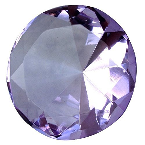 Diamond Jewel Paperweight 60mm Lavender Round Cut