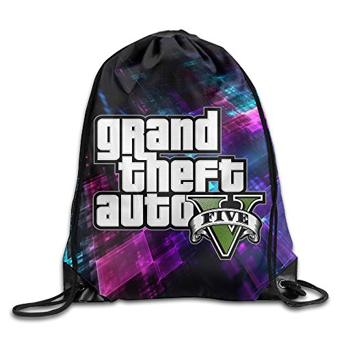Price comparison product image Creative Design GTA V Grand Theft Auto Five Logo Drawstring Backpack Sport Bag For Men And Women