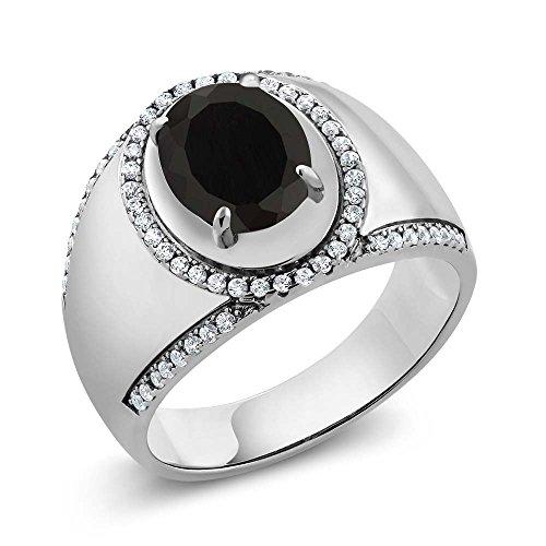 nyx 925 Sterling Silver Men's Ring (Black Onyx Gemstone Band Ring)