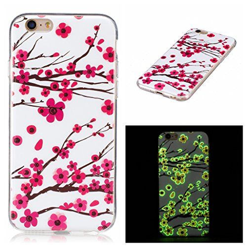 "Coque iPhone 7, IJIA Ultra-mince Transparent Noctilucent Prune Fleur Rose Rouge TPU Doux Silicone Bumper Case Cover Shell Skin Housse Etui pour Apple iPhone 7 (4.7"") + 24K Or Autocollant"
