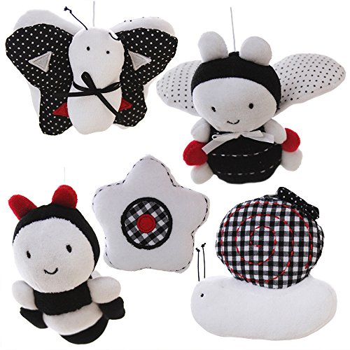 SHILOH Baby Infant Crib Stroller Mobile Hanging Rattles Set 5 PCS (White & Black)