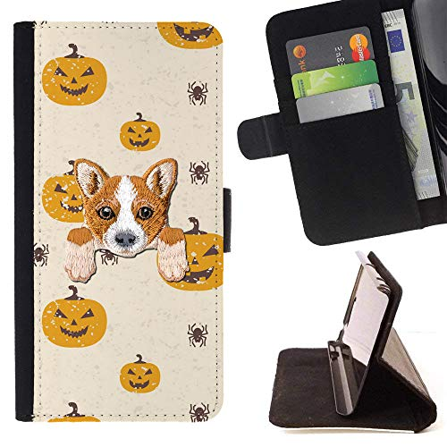 [ Welsh Corgi ] Embroidered Cute Dog Puppy Leather Wallet Case for LG K4 (2017) / LG K8 (2017) / LG Aristo/LG Phoenix 3 / LG Risio 2 / LG Fortune [ Halloween Pumpkin Pattern ] ()