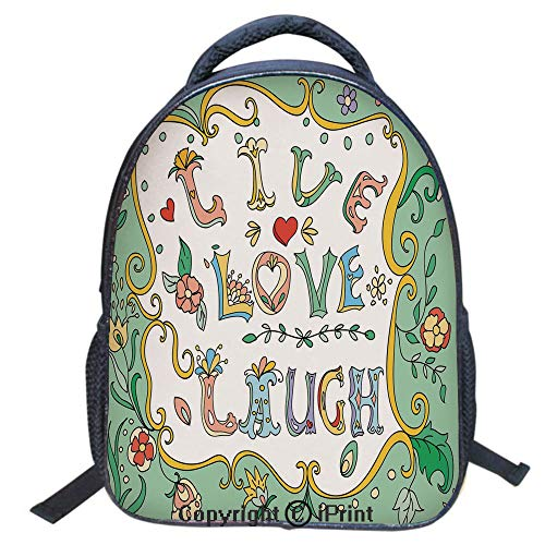 Designer Original Art Print Casual Backpack,Travel Backpack 16Inch Laptop Bag,16 inch,Ornate Doodle Wreath Inspiring Quote with Flowers Spring Petals Print Decorative