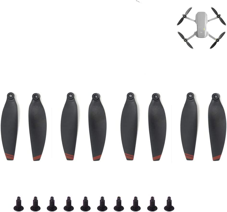 8pcs Drone Propellers for DJI Mavic Mini Drone Accessories Foldable Low-Noise Paddle Quick Release Replacement Part (Black & Red)