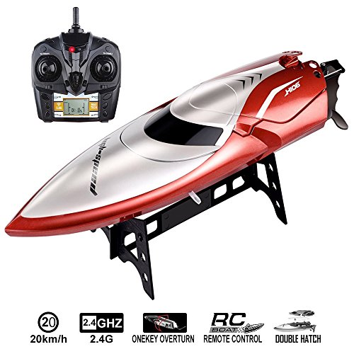 Distance Control - SZJJX RC Boat 2.4GHz 4CH High Speed Remote Control Racing Boat for Pools and Lakes 20KM/H LCD Display with 150M Long Remote Control Distance SJ106