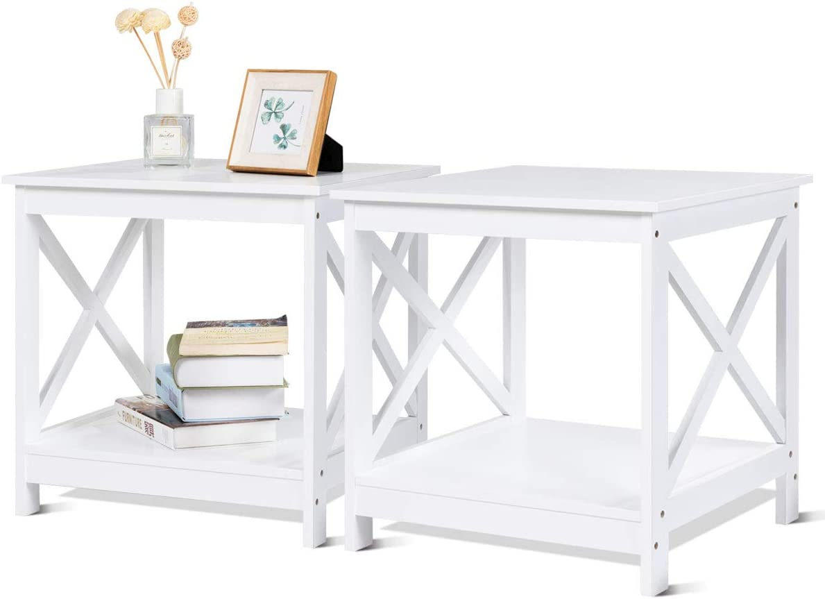 Giantex End Table Sofa Side Table X-Shaped Frame Accent Furniture Display Shelves for Living Room Bedroom Nightstand L19 xL19 xH18 2, White
