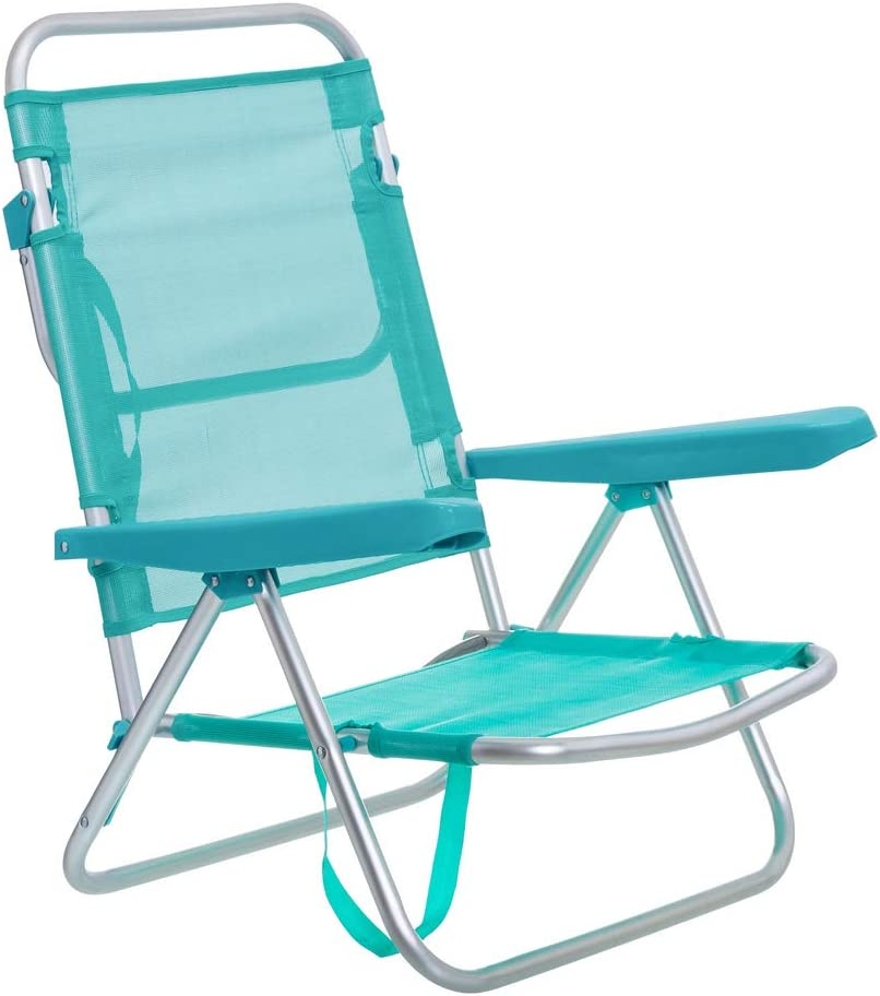 Silla de Playa con Brazos reclinable Verde Aluminio de 80x61x47 cm - LOLAhome