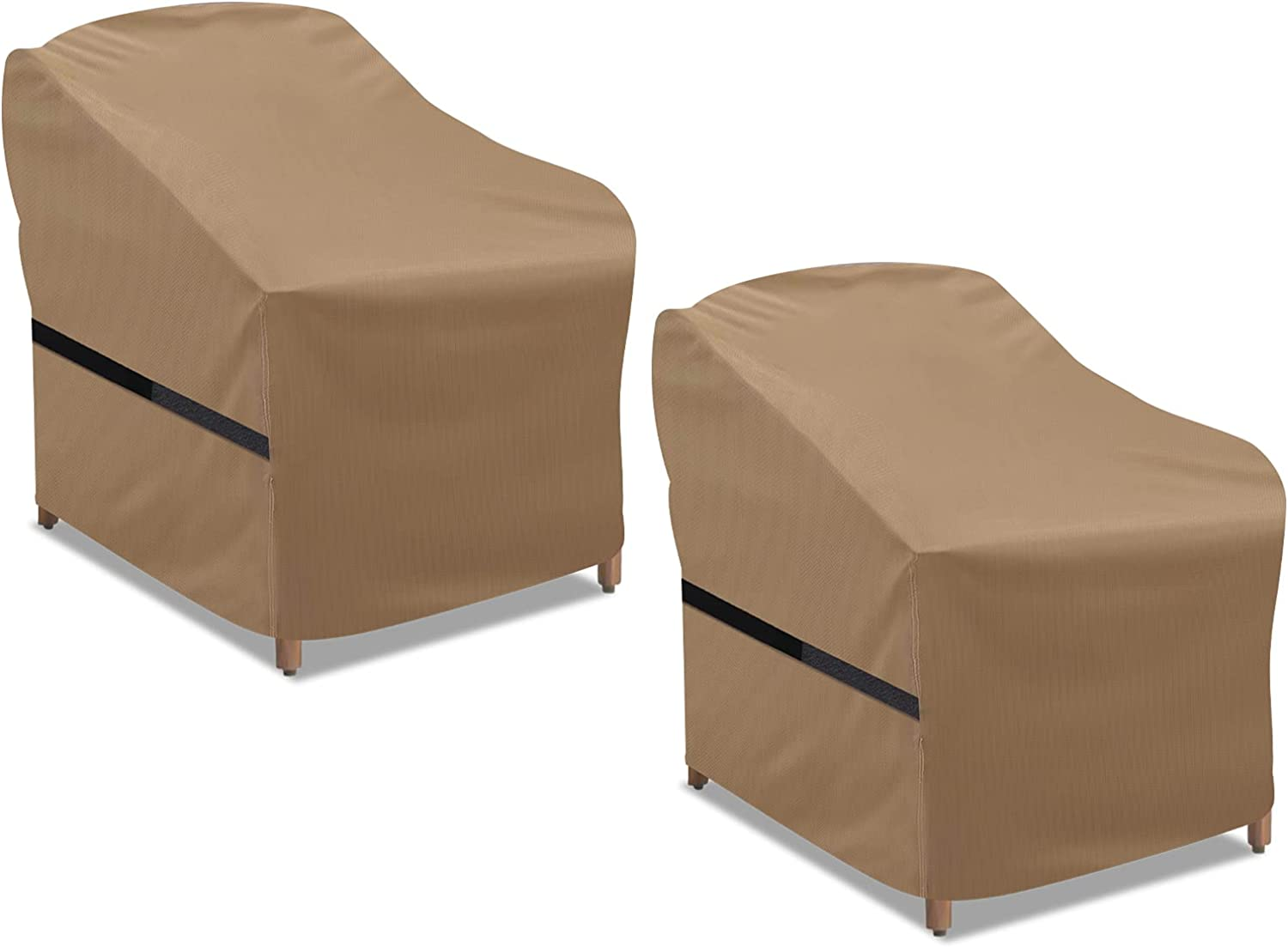 NASUM Patio Chair Covers, 2 Pack Lounge Deep Outdoor Seat Cover, 38''Lx31''Dx29''H, 600D Waterproof and Heavy Duty Outdoor Furniture Covers, Beige