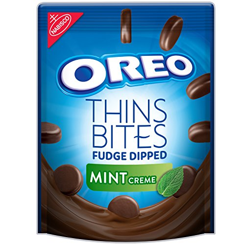 OREO Thins Bites Fudge Dipped Chocolate Sandwich Cookies, Mint Flavored Creme, 1 Resealable 6 oz Pack