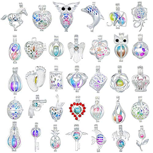 New Cute Beads Silver Charm - New Arrival Valentine's Day Gift 20 Pcs Bright Silver Cute Wish Pearl Bead Cages Pendant Wholesale - Essential Oil Scent Diffuser Cage Charms for Bracelet Necklace Earrings Jewelry Making (20pcs)