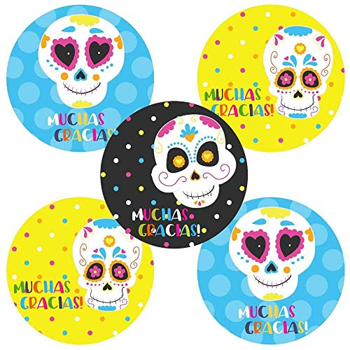 Halloween Thank You (Sugar Skull Muchas Gracias Sticker Labels - Birthday Halloween Thank You Party Favor - Set of)
