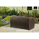 Gracelove Patio Storage Box Outdoor Deck Yard Bench Garden Porch Pool Lockable 73 Gallon (Black Brown)