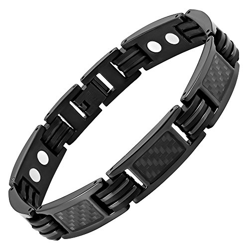 Willis Judd Mens Carbon Fiber Titanium Magnetic Bracelet Size Adjusting Tool and Gift Box Included (8.5inch) (Fiber Bracelets Carbon)
