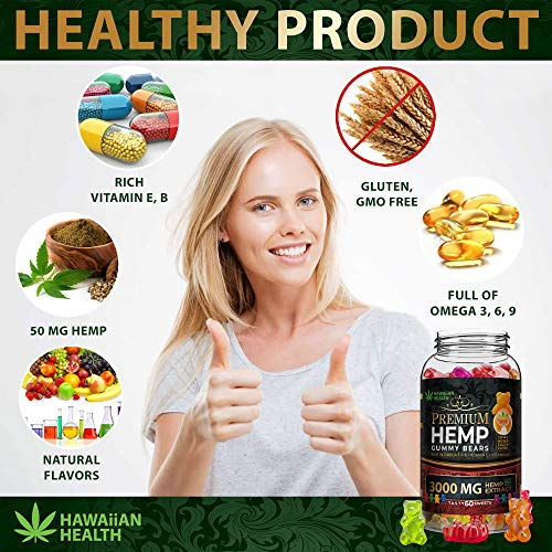 Natural Hemp Gummies 3000MG - 50MG Per Fruity Gummy Bear with Full Spectrum Hemp Extract   Natural Candy Supplements for Pain, Anxiety, Stress & Inflammation Relief   Promotes Sleep & Calm Mood by Hawaiian health (Image #4)
